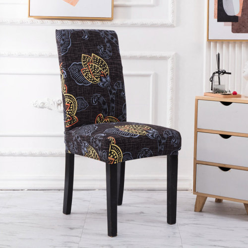 Waterproof Handmade Chair Covers Black Leaf Print
