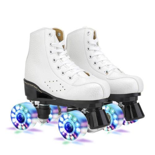 White Quad Skates Luminous Light Up Roller Skate For Beginners