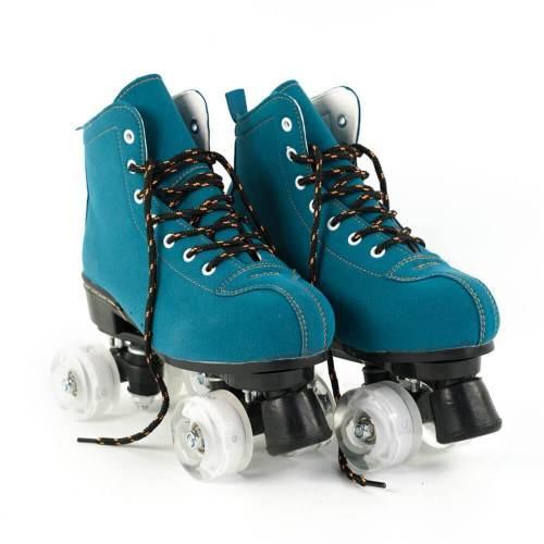 Blue-green Outdoor Roller Skates Boots Adult Flash Quad Skates For Beginners