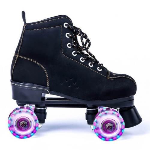 Light Up Skate Wheels Black Frosted Leather Flash Roller Skates for Womens & Mens