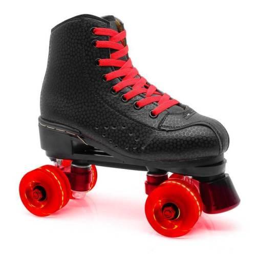 Black Outdoor Light Up Adult Roller Skates For Beginner