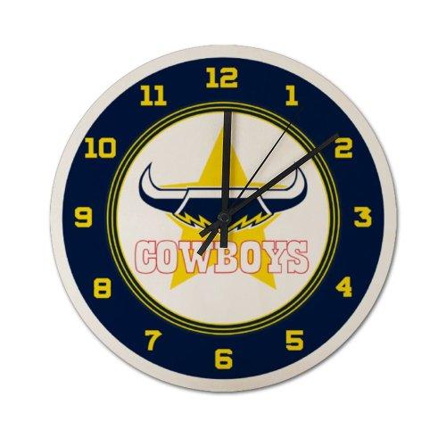 NRL Queensland Cowboys Edition Wood Dash Wall Clock