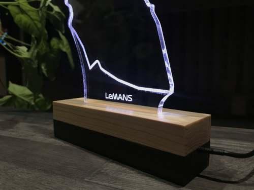 Circuit des 24 Heures du Mans LED Lamp. Circuit de la Sarthe, 24 Hours of Le Mans auto race. Race Track circuit