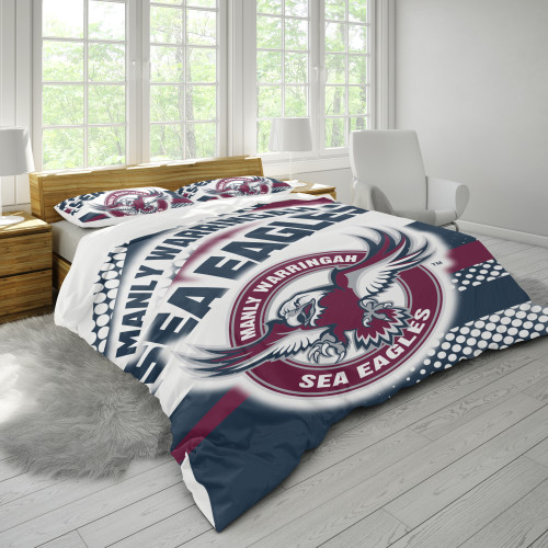 NRL Manly Warringah Sea Eagles Edition Duvet Cover & 2 Pillow Cases Bedding Sets