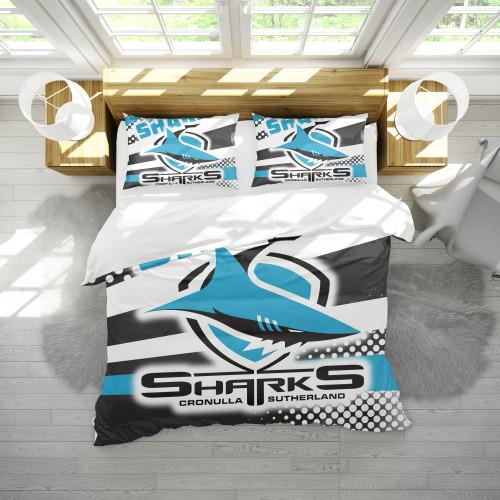 NRL Cronulla-Sutherland Sharks Edition Duvet Cover & 2 Pillow Cases Bedding Sets