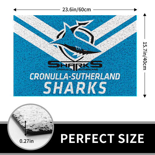 NRL Cronulla-Sutherland Sharks Edition Edition Waterproof Welcome Door Mat