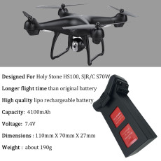 Upgrade 7.4V 4100mAh Lipo Battery For Holy Stone HS100 SJRC S70W Quadcopter Dorne