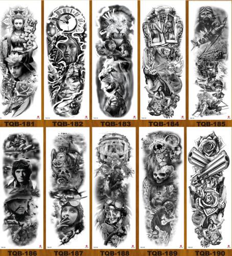 10 pcs Full Arm Temporary Tattoo Sticker Waterproof TQB181-190