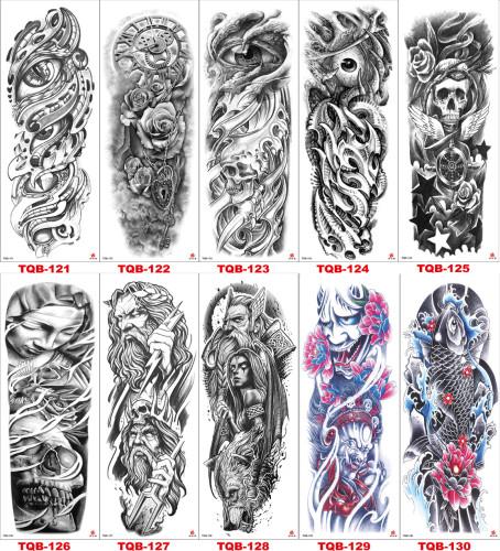 10 pcs Full Arm Temporary Tattoo Sticker Waterproof TQB121-130