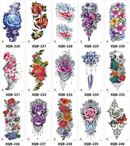 15 pcs Half Arm Temporary Tattoo Sticker Waterproof XQB226-240