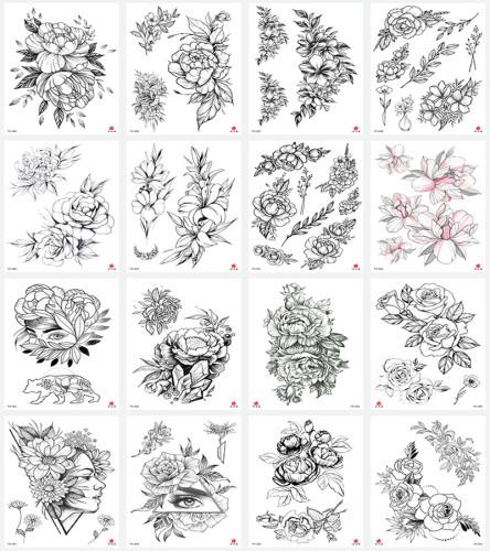 16 pcs Half Arm  Waterproof Temporary Tattoo Sticker TH385-400