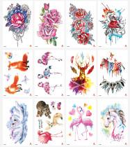 12 pcs Half Arm Temporary Tattoo Sticker Waterproof TH253-264