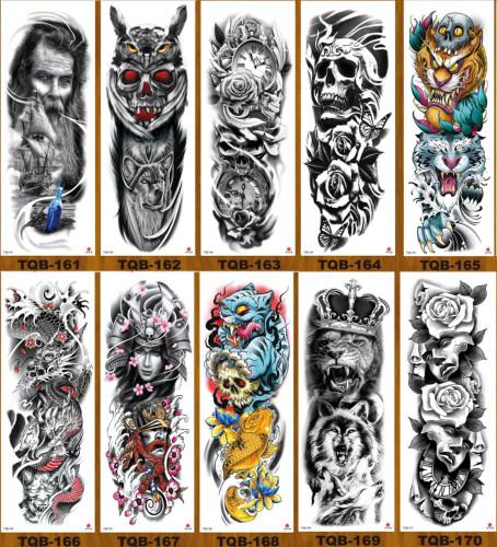 10 pcs Full Arm Temporary Tattoo Sticker Waterproof TQB161-170
