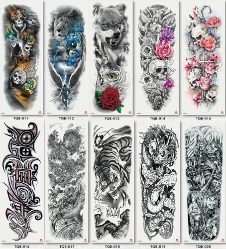 10 pcs Full Arm Temporary Tattoo Sticker Waterproof TQB011-020