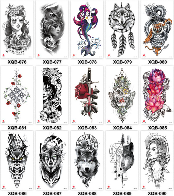 15 pcs Half Arm Temporary Tattoo Sticker Waterproof XQB076-090