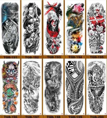 10 pcs Full Arm Temporary Tattoo Sticker Waterproof TQB191-200