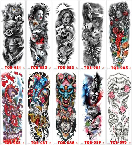 10 pcs Full Arm Temporary Tattoo Sticker Waterproof TQB081-090