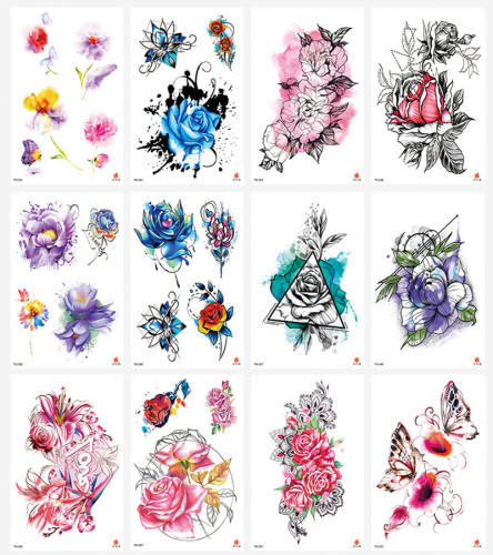 12 pcs Half Arm Temporary Tattoo Sticker Waterproof TH241-252