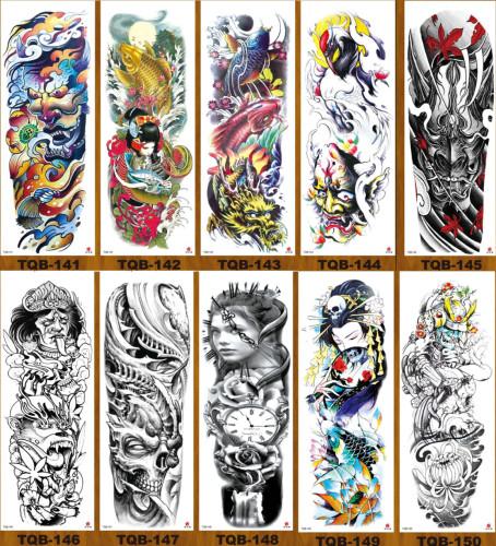 10 pcs Full Arm Temporary Tattoo Sticker Waterproof TQB141-150