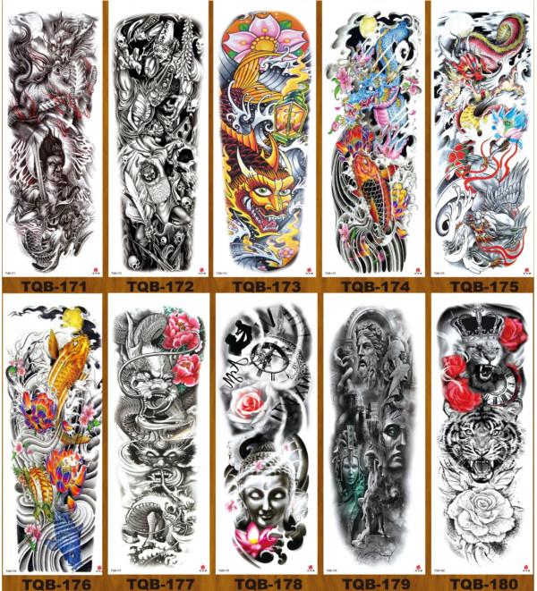 10 pcs Full Arm Temporary Tattoo Sticker Waterproof TQB171-180