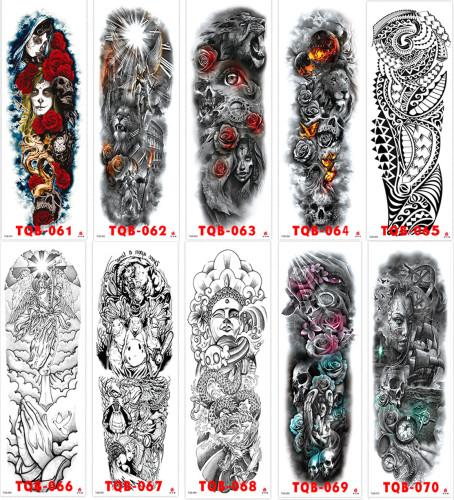 10 pcs Full Arm Temporary Tattoo Sticker Waterproof TQB061-070