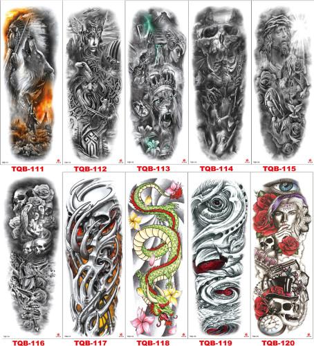10 pcs Full Arm Temporary Tattoo Sticker Waterproof TQB111-120