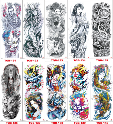 10 pcs Full Arm Temporary Tattoo Sticker Waterproof TQB131-140