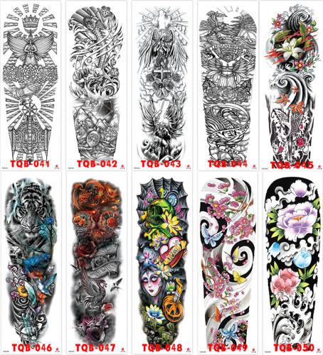10 pcs Full Arm Temporary Tattoo Sticker Waterproof TQB041-050