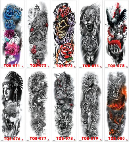 10 pcs Full Arm Temporary Tattoo Sticker Waterproof TQB071-080