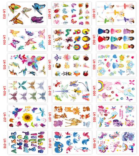 18 pcs Kids Children Temporary Tattoo Sticker Waterproof LH001-018