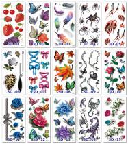 15 pcs Half Arm Temporary Tattoo Sticker Waterproof 3D01-15
