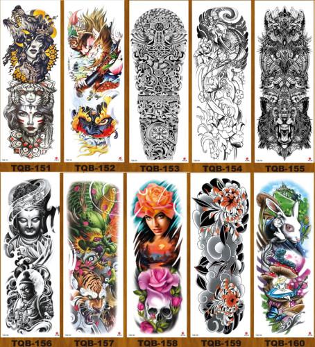 10 pcs Full Arm Temporary Tattoo Sticker Waterproof TQB151-160