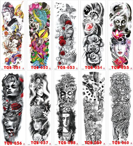 10 pcs Full Arm Temporary Tattoo Sticker Waterproof TQB051-060