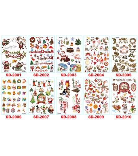 10 pcs Christmas Temporary Tattoo Sticker Waterproof SD2001-2010