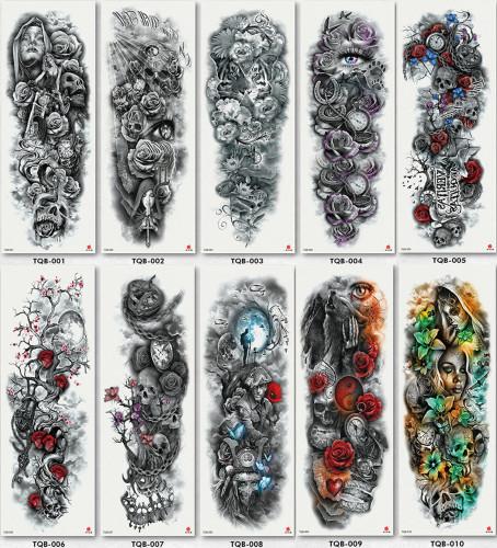 10 pcs Full Arm Temporary Tattoo Sticker Waterproof TQB001-010