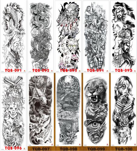 10 pcs Full Arm Temporary Tattoo Sticker Waterproof TQB091-100