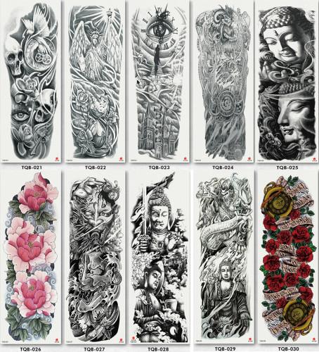 10 pcs Full Arm Temporary Tattoo Sticker Waterproof TQB021-030