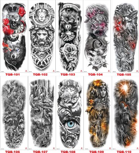 10 pcs Full Arm Temporary Tattoo Sticker Waterproof TQB101-110