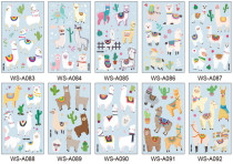 10 pcs Kids Cartoon Temporary Tattoo Sticker Waterproof Alpaca WSA083-092