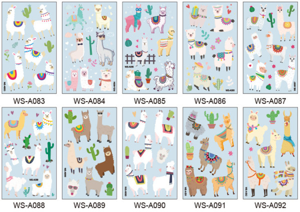 10 pcs Kids Cartoon Temporary Tattoo Sticker Waterproof Alpaca WSA083-092
