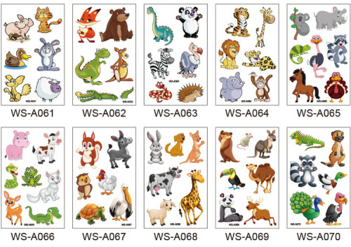 10 pcs Kids Cartoon Temporary Tattoo Sticker Waterproof Animal WSA061-070