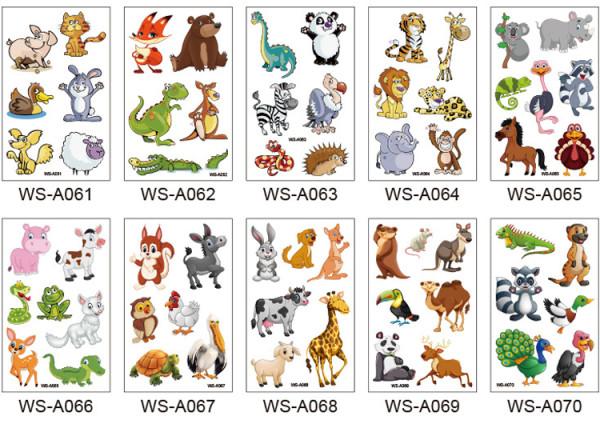 10 pcs Kids Cartoon Temporary Tattoo Sticker Waterproof Animal WSA061-070