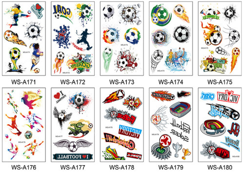 10 pcs Football Temporary Tattoo Sticker Waterproof WSA171-180