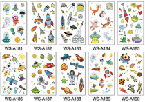 10 pcs Kids Cartoon Temporary Tattoo Sticker Waterproof Space WSA181-190