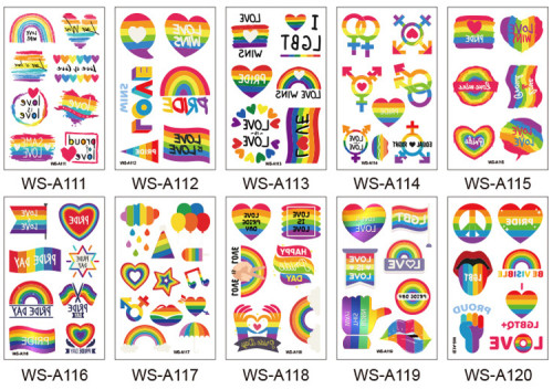 10 pcs Pride Day Temporary Tattoo Sticker Waterproof WSA111-120