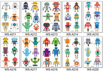 10 pcs Kids Cartoon Temporary Tattoo Sticker Waterproof Robot WSA211-220