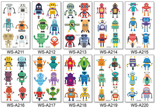 10 pcs Kids Cartoon Temporary Tattoo Sticker Waterproof Robot WSA211-220