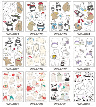 12 pcs Kids Cartoon Temporary Tattoo Sticker Waterproof Bear WSA071-082