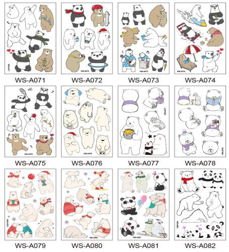 12 pcs Kids Cartoon Temporary Tattoo Sticker Waterproof Bear WSA071-082