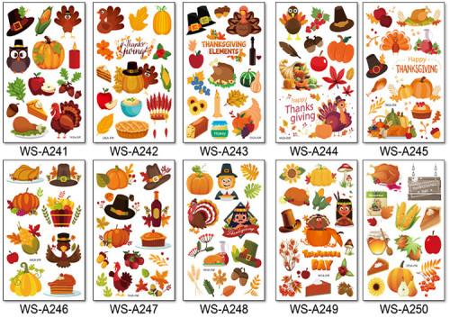 10 pcs Thanksgiving Kids Temporary Tattoo Sticker Waterproof WSA241-250